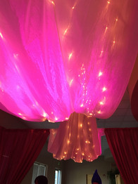 Pink Uplights | Ceiling Drape | Twinkle Lights
