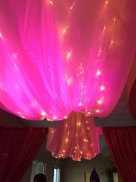 Pink Uplights | Ceiling Drape | Twinkle Lights