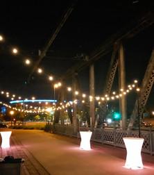 Coohills Bridge | Denver | Market lights and glowing cocktail tables.