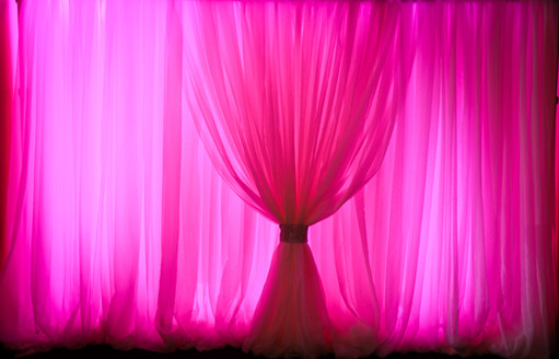 Bright Pink Uplights | Pipe and Drape