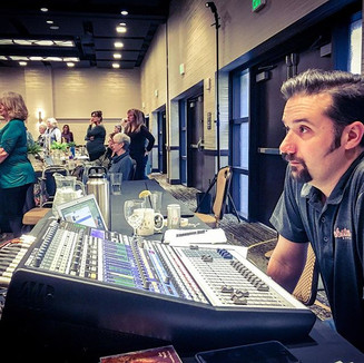 Jacob Bieber, our sound engineer, working hard.