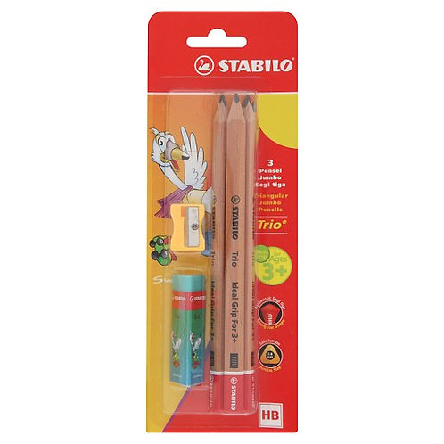 stabilo triangular jumbo pencils set including a sharpener and an eraser