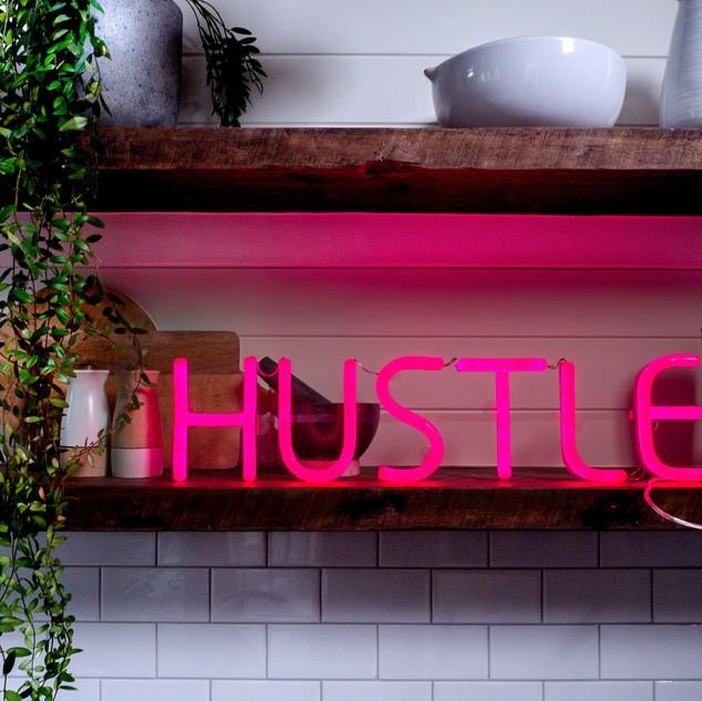 Pink Neon Hustle Signage