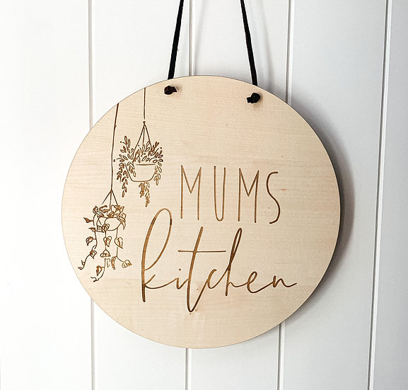 Personalised Wooden Nursery Name Sign Plaque - Mums Kicthen