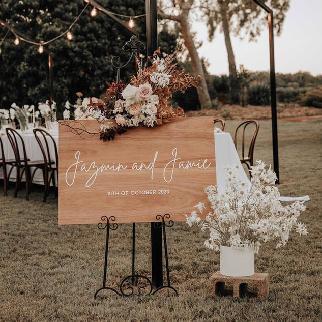 Rustic Wooden Welcome Sign with Florals