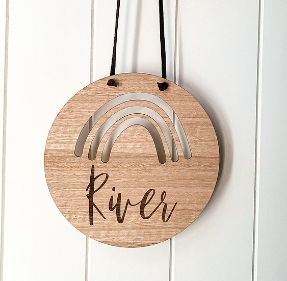 Personalised Wooden Nursery Name Sign Plaque -Rainbow