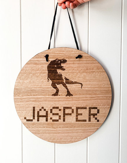 Personalised Wooden Nursery Name Sign Plaque - Dinosaur - Dino - T-REX