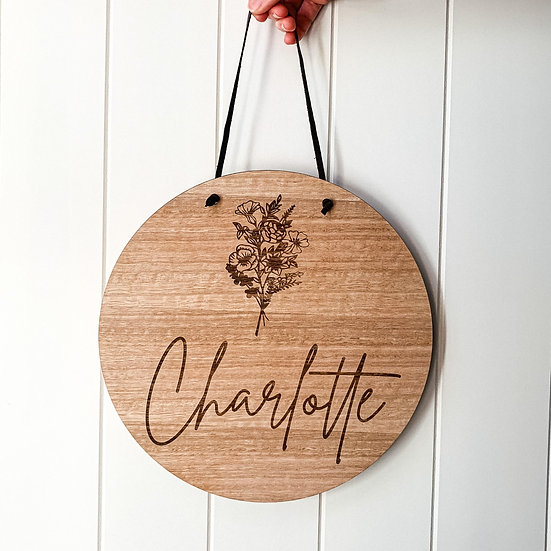 Personalised Wooden Nursery Name Sign Plaque - Floral