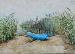 Boot im Morgendunst 50x70