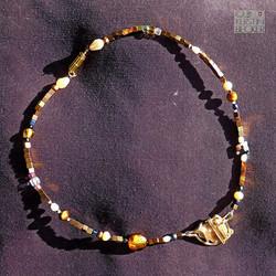 Hämatit Collier bronze gold Perle Tigera