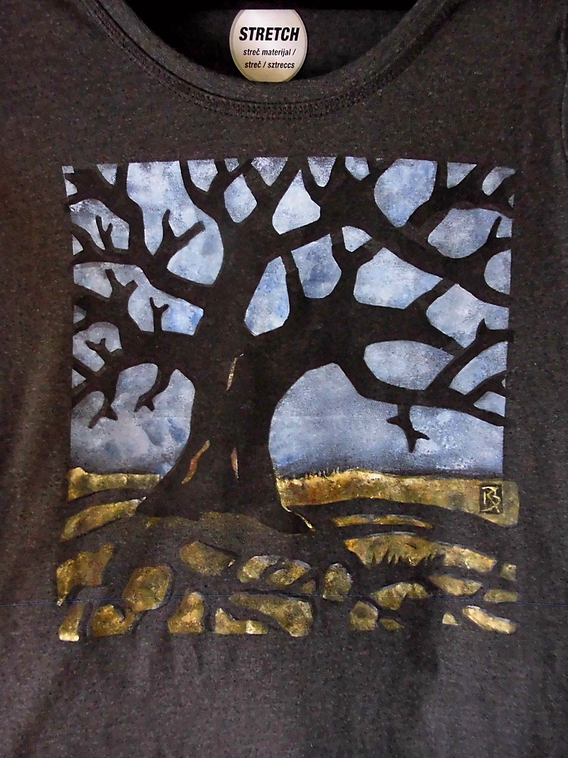Handarbeit auf Shirts, Alter BAUM