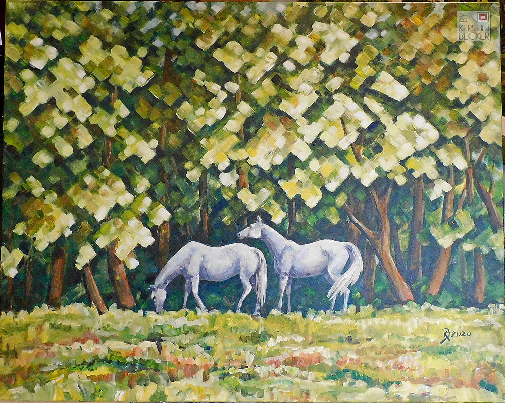 Pferde im Schatten, Acryl auf Leinwand,