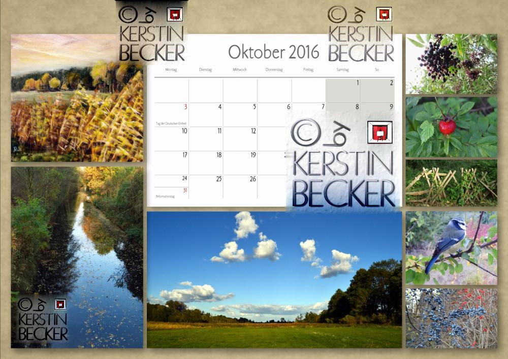 Kalender 2016, Oktober, A4, A3