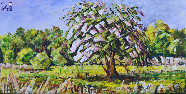 Apfelwiese, Acryl,50x100