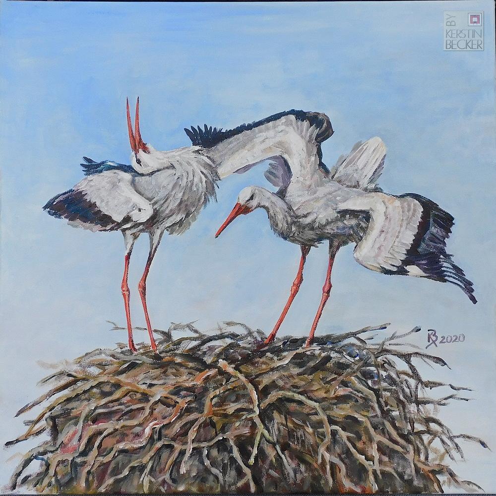 Störche am Nest, 60x60