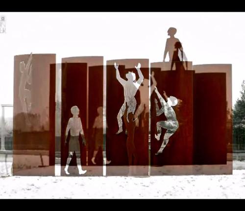 Mauerdenkmal im zarten Schnee.mp4