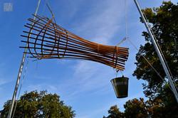 Wolken fischen,Installation (Bambus, Zin