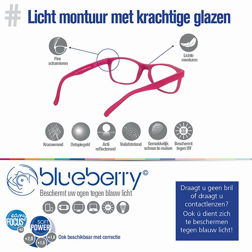 Blueberry bril - filtert tegen schadelijk blauw licht