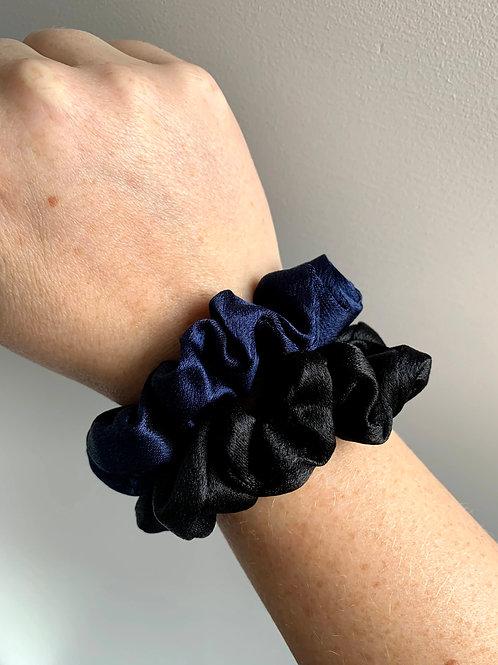 Scrunchie fijn blauw/zwart