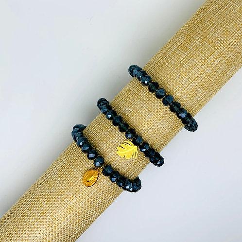 Facet armband donkerblauw