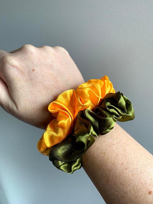 Scrunchie geel/groen