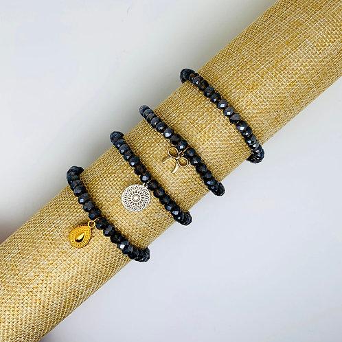 Facet armband bruin-grijs