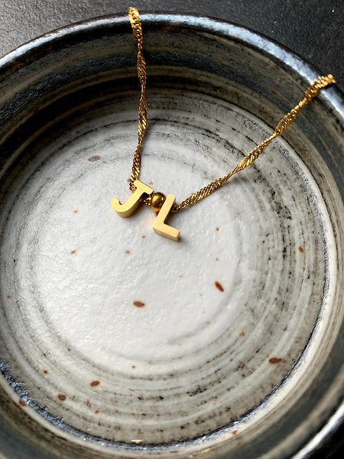 Initiaal ketting met 2 letters/symbolen (goud)
