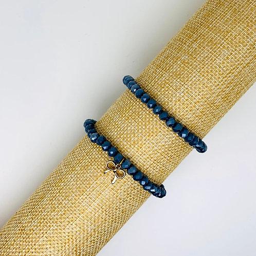 Facet armband blue stone