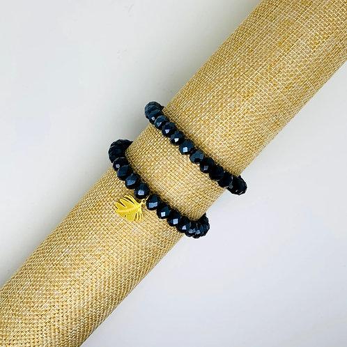 Facet armband shiny donkerblauw