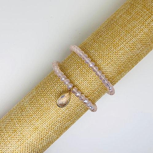 Facet armband roze