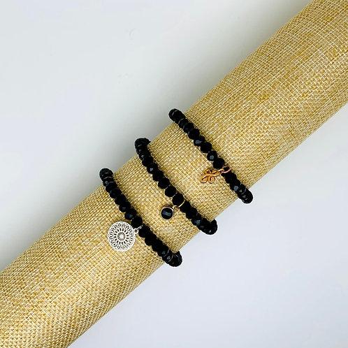 Facet armband zwart