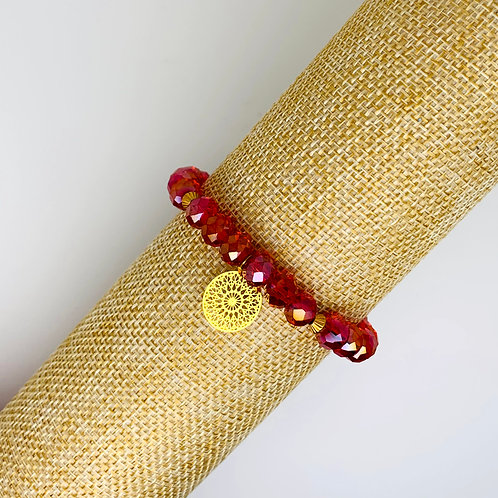 Facet armband rood