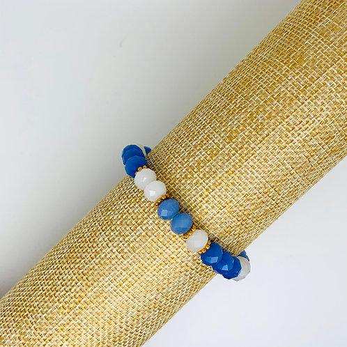 Facet armband wit-blauw
