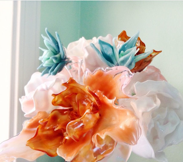 Glass Bouquet Succulent and Peony