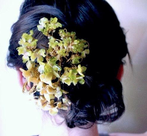 Glass Hydrangea Hair Piece