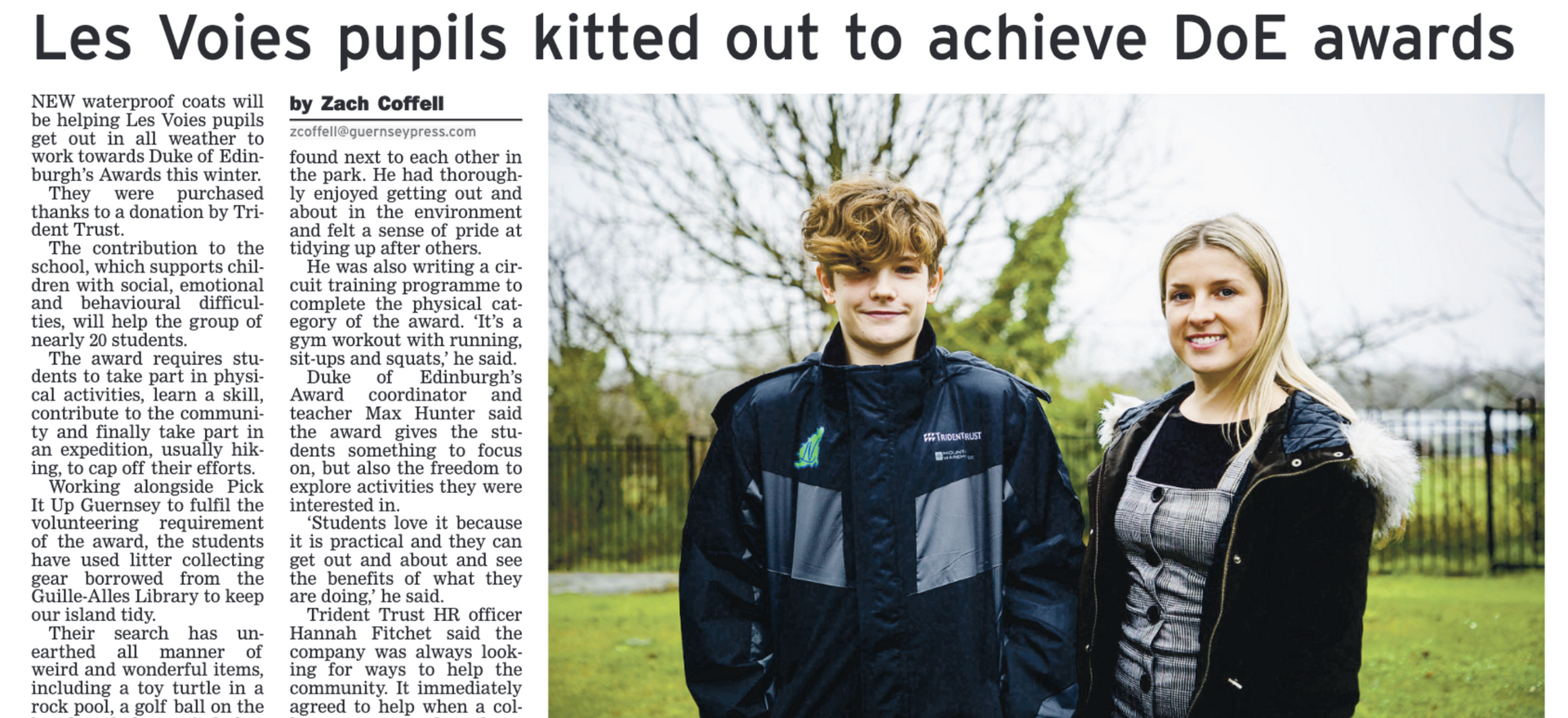 Les Voies pupils kitted out to achieve DoE Awards
