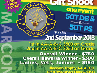 Marconi Clay Target Club | Illawarra Clay Target Club Gift  Shoot | Sunday 2nd September 2018