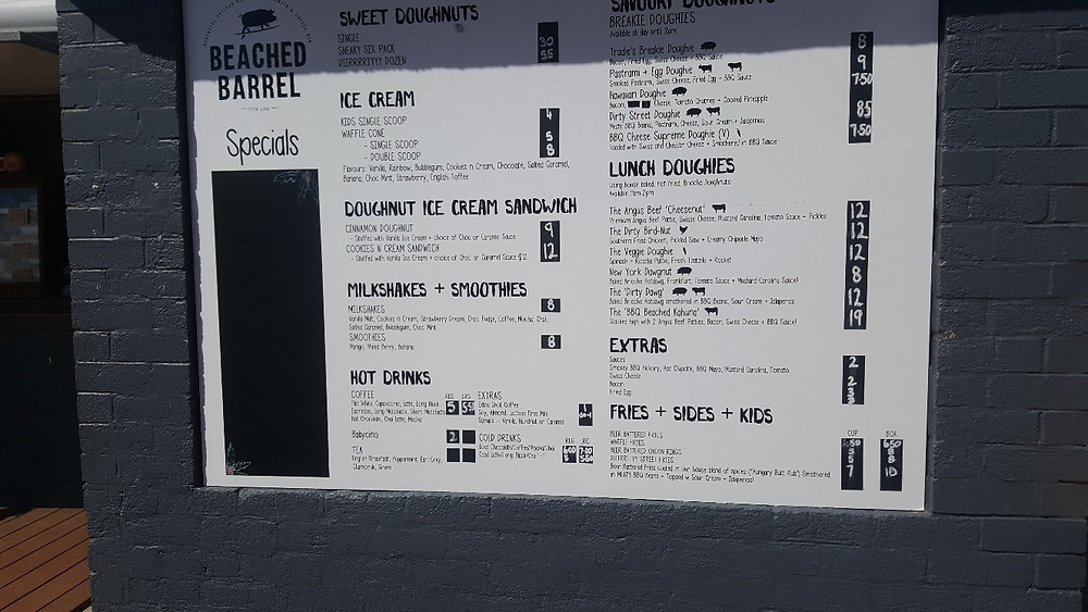 Beached Barrel Menu