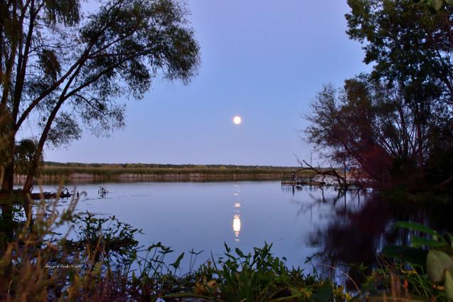 Hunters Moon over the River framed 1 DSC