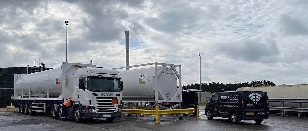 LNG biomethane tanker, storage tank and a FUELlink van