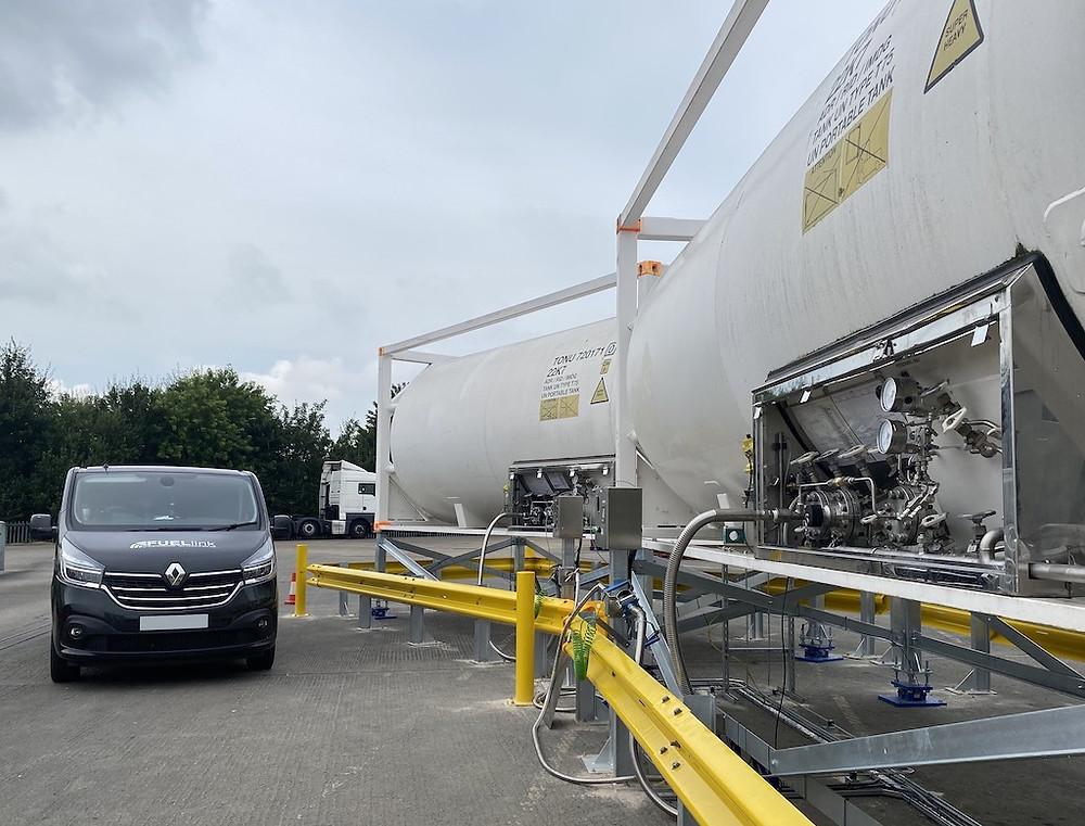 Two LNG biomethane gas tankers alongside a FUELlink van