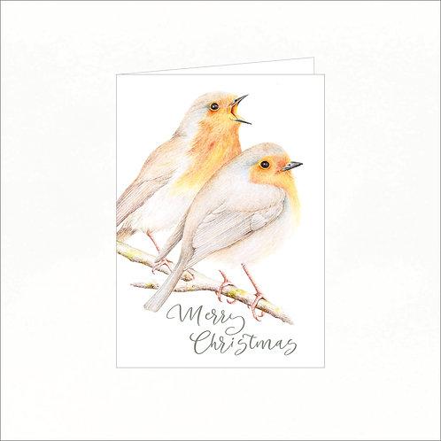 Greeting Card - Xmas Robin Redbreasts