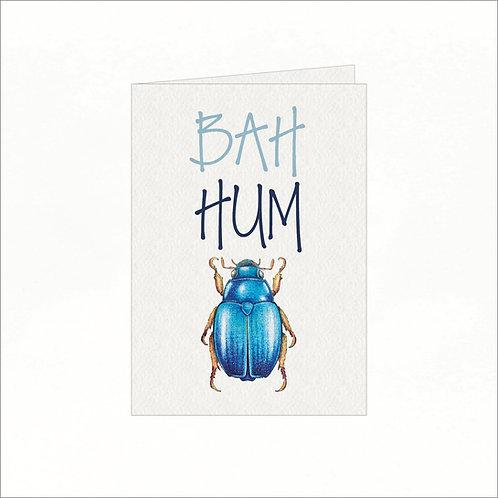 Greeting Card - Xmas Bah Hum Bug Blue Bug