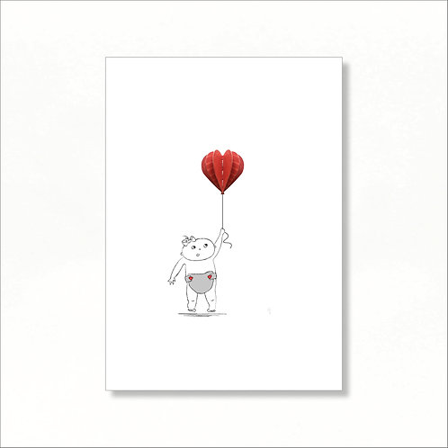 A4 Print - Lilly Holding a Balloon