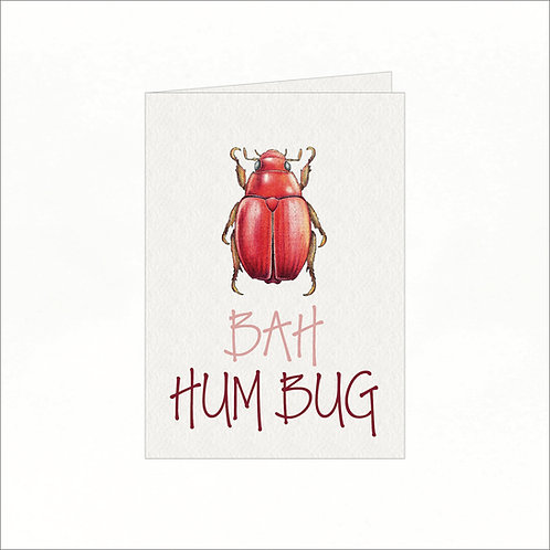 Greeting Card - Xmas Bah Hum Bug Red Bug