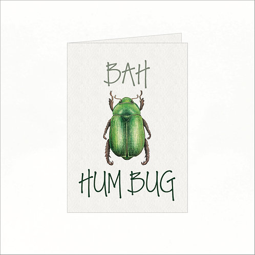 Greeting Card - Xmas Bah Hum Bug Green Bug