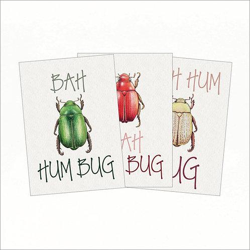 Set of 3 Christmas Cards - Xmas Bah Hum Bug