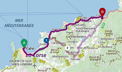Route de Calvi à Lozari en passant longeant la mer.