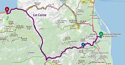 Route de l'aéroport de Bastia à la terrassede Lozari en passant par une visite pitoresque à Ponte Leccia