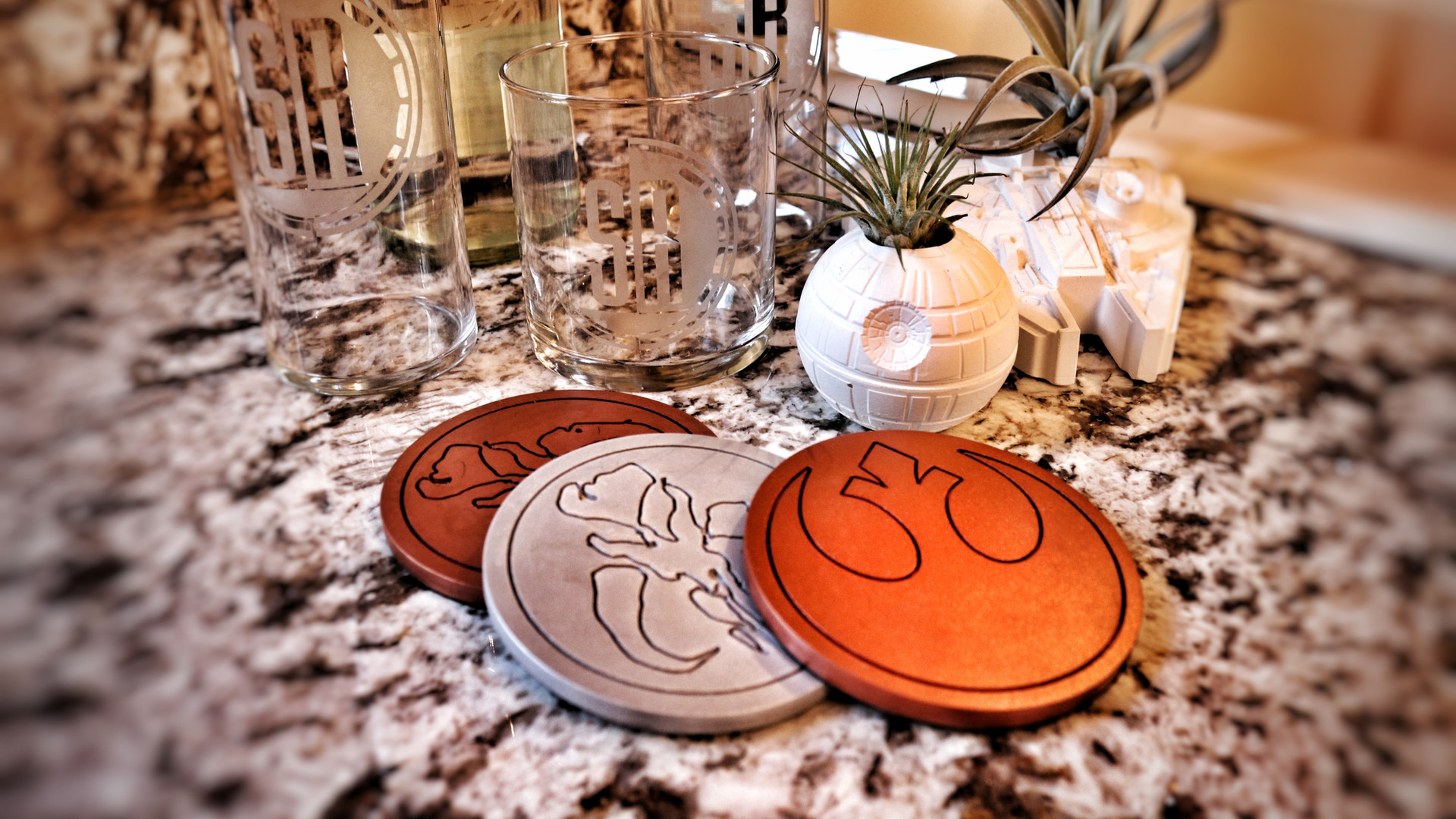 Etched SR Glasses and Coasters